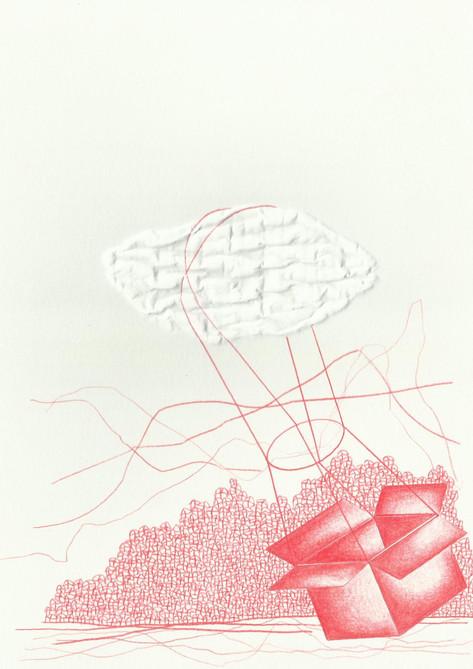 """Sem título, 2015  Série """"Versos [in]versos"""" Desenho com grafites coloridos para lapiseira 0.5 mm e fricção no verso com caneta esferográfica sobre papel g/m² 220  Dimensões: 21 cm x 15 cm  A série é composta por 20 desenhos."""