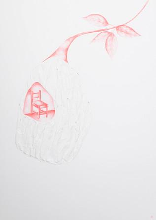 Sem título, 2016  Desenho: Anverso - Grafite de lapiseira 0.5 mm colorido; Verso - fricção com caneta esferográfica sobre papel branco 200 g/m² Dimensões: 42 cm x 29,7 cm Fotografia: Junior Luis Paulo  A série é composta por 16 desenhos.