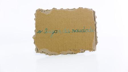 O lugar da saudade, 2020  Bordado sobre pedaço de papelão Dimensões: 12,5 cm x 16,5 cm