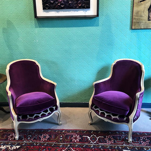Purple Velvet reupholstered Fauteuil Chairs (Pair)