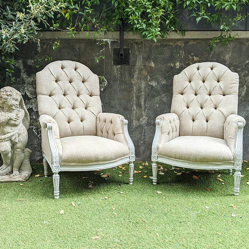 Pair Napolean III Armchairs upholstered in rustic heavy duty linen