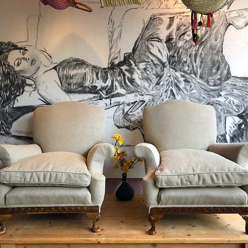 Pair early 20th Century reupholstered armchairs