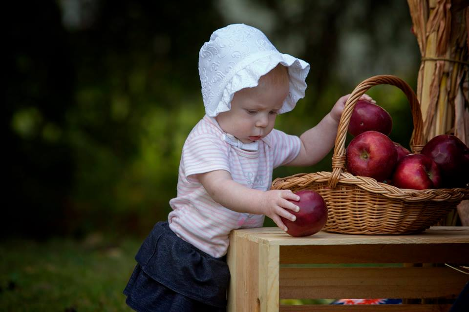 Evelyn collecting apples