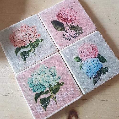 Pack of 4 Handmade Hydrangea Coasters