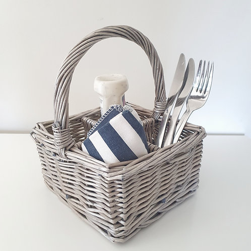 Square Willow Cutlery Basket