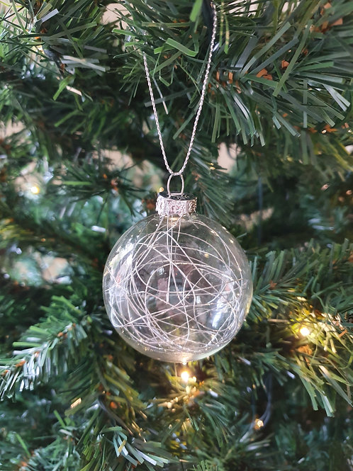 Silver String Glass Bauble