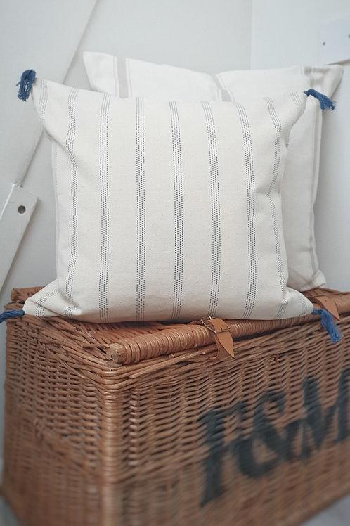 Navy Stripe Tassel Cushion