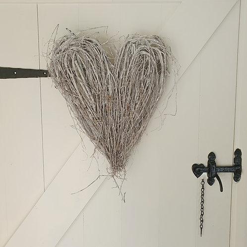 Small Rustic Grey Twig Heart