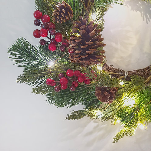 Red Berry LED Wreath