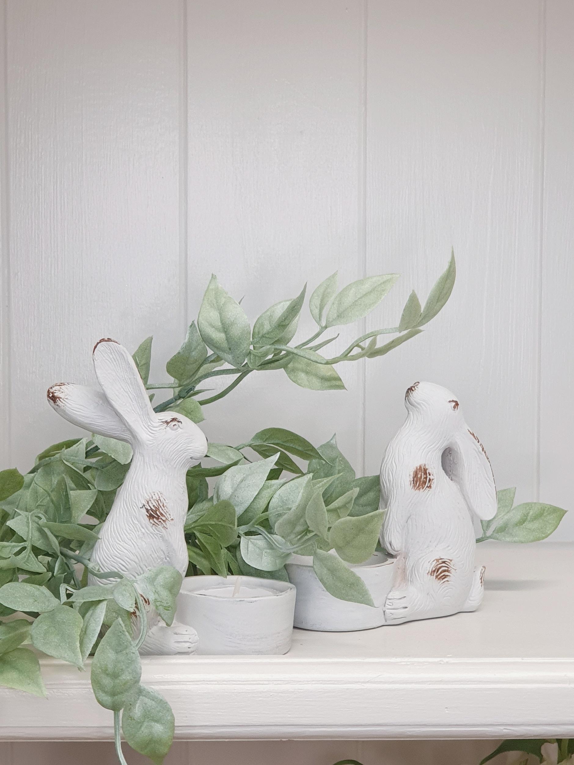 Set of 2 Hare Tealight Holders