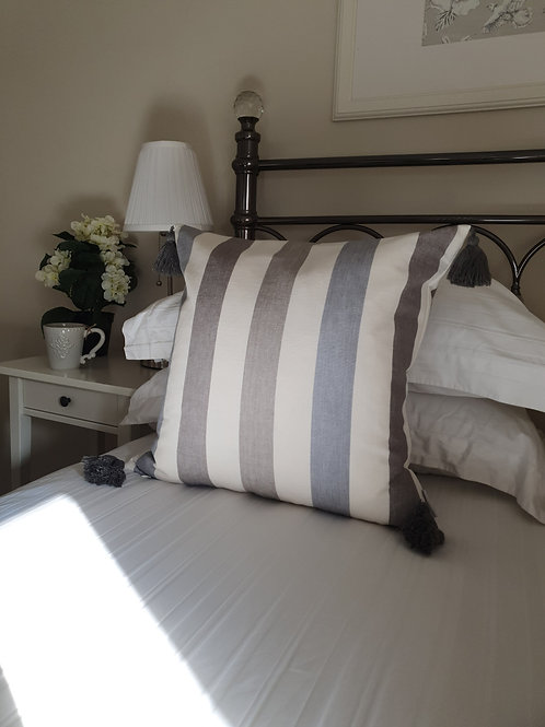 Grey Stripe Tassel Cushion