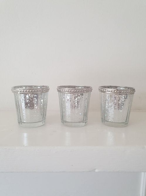Set of 3 Mecury Glass Candle Holders