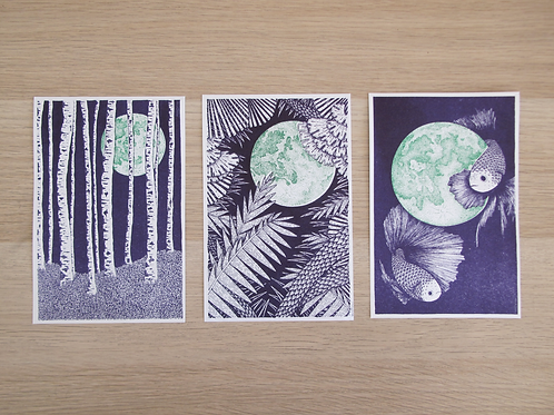 3 illustrations FULL-MOON 11,5 x 18 cm - Holdzeline