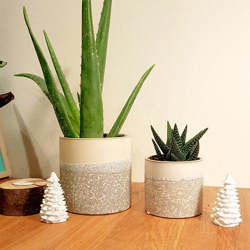 Cache pot Céramique - Graphique gris, bleu, blanc texturé -  2 tailles au choix