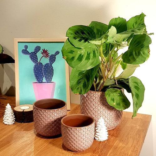 Cache pot Céramique - Graphique damier, arrondi, vieux rose, 3 tailles au choix