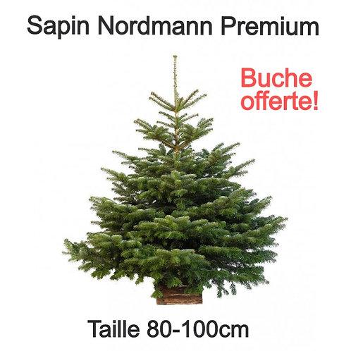 Sapin de Noël Naturel - Variété Nordmann - BUCHE OFFERTE - 80-100cm