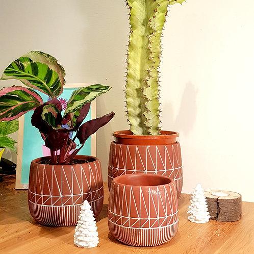 Cache pot Céramique -  terracotta graphique couleur brique 3  tailles au choix