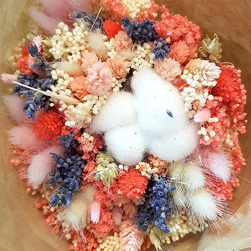 Bouquet de fleurs séchées - Rose et bleu