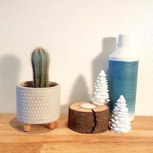 Cache pot Céramique - Graphique Gris sur pieds bois diamètre 7,5cm