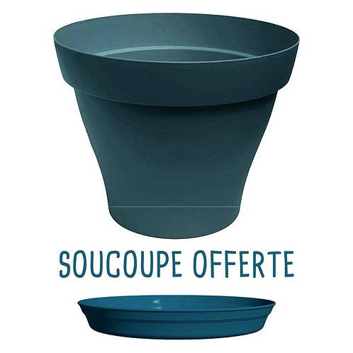 Pot Plastique Bleu Pétrole - Soucoupe OFFERTE