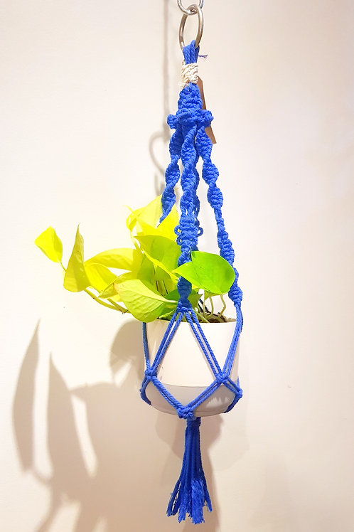 Suspension macramé bleu 60cm, pot de 15cm max faite main à Toulouse