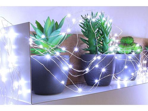 GUIRLANDE 150 MICRO LED BLANC PUR - 7,5m - câble argent transparent