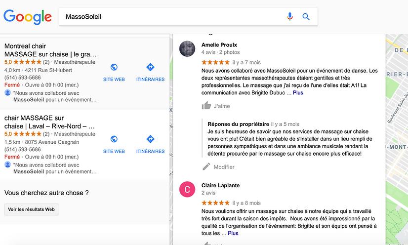 Avis des clients de massage sur chaise sur Google