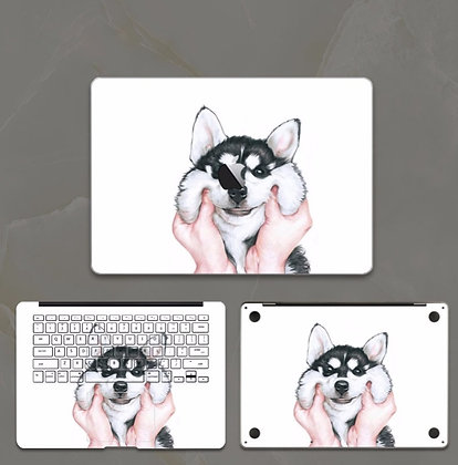 apple macbook pro air retina touchbar 11 12 13 15 inch decal skin sticker pinch dog face
