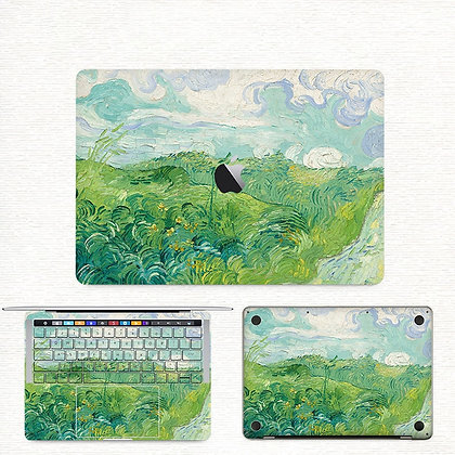 apple macbook pro air retina touchbar 11 12 13 15 inch decal skin sticker green field
