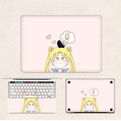 apple macbook pro air retina touchbar 11 12 13 15 inch decal skin sticker sailor moon