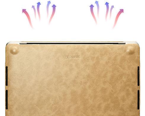 Apple macbook air pro retina touchbar 11 12 13 14 15 16 inch premium high quality grade microfibre brown leather case cover protector ventilation