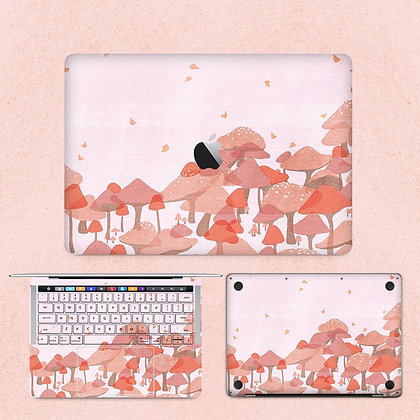 apple macbook pro air retina touchbar 11 12 13 15 inch decal skin sticker pink mushroom
