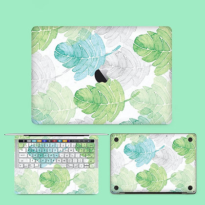 apple macbook pro air retina touchbar 11 12 13 15 inch decal skin sticker green leaf