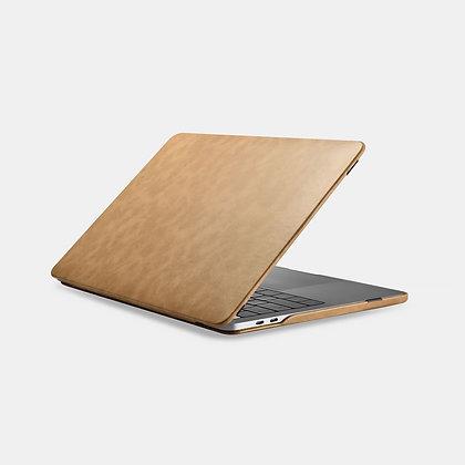 apple macbook air pro retina touchbar 11 12 13 14 15 16 inch brown premium high grade microfibre leather case cover protector