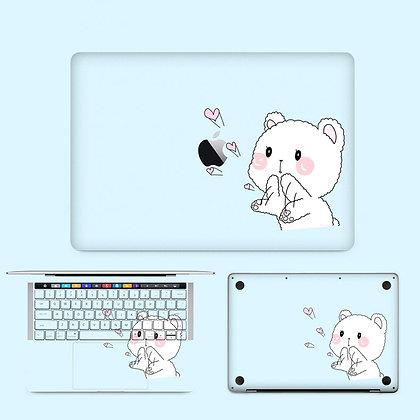 apple macbook pro air retina touchbar 11 12 13 15 inch decal skin sticker cute bear