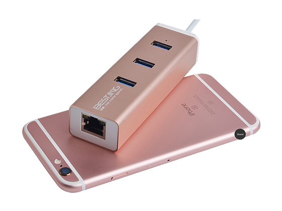 Macbook Thunderbolt USB 3.0 + HUB adapter (rose)