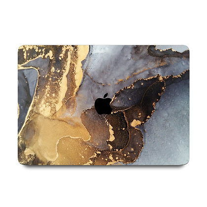 """apple macbook air pro retina touchbar 11 12 13 14 15 16"""" inch ocean gold marble case cover protector malaysia"""