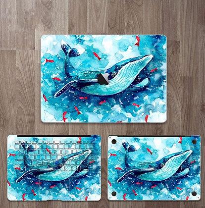 apple macbook pro air retina touchbar 11 12 13 15 inch decal skin sticker blue sea whale