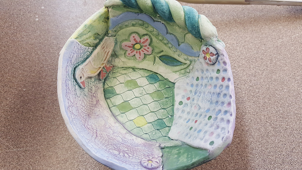 Bisqued and undeglaze painted fairy bowl