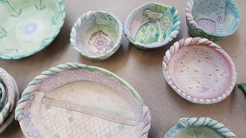 some more bowls underglaze painted