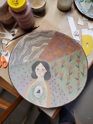 Slip decoration with paper resist and sgraffito