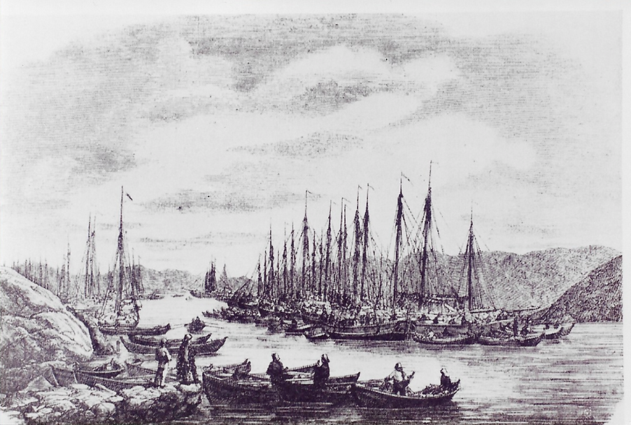 Vårsildfiskere ved Karmøy i 1800-årene
