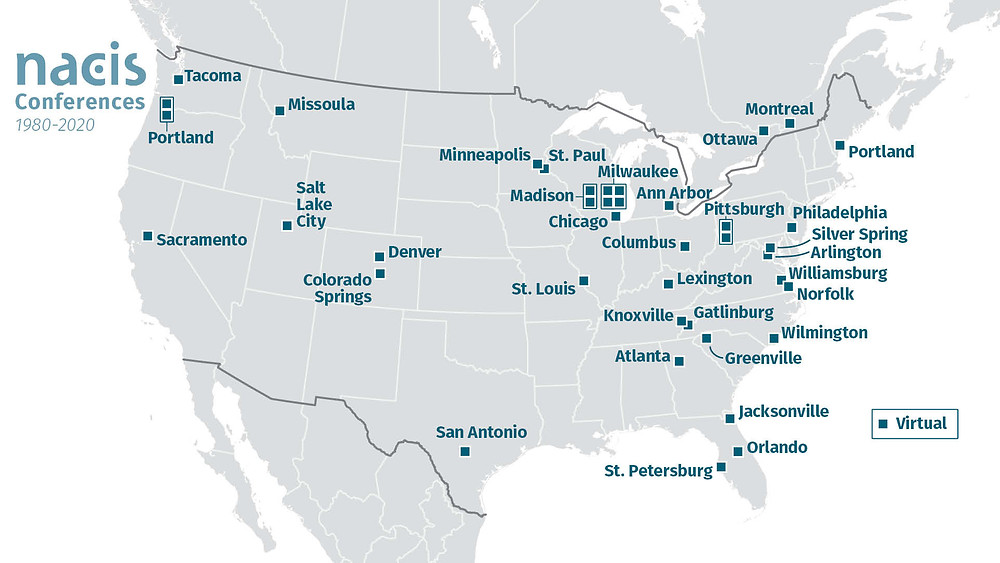 All NACIS conference locations.