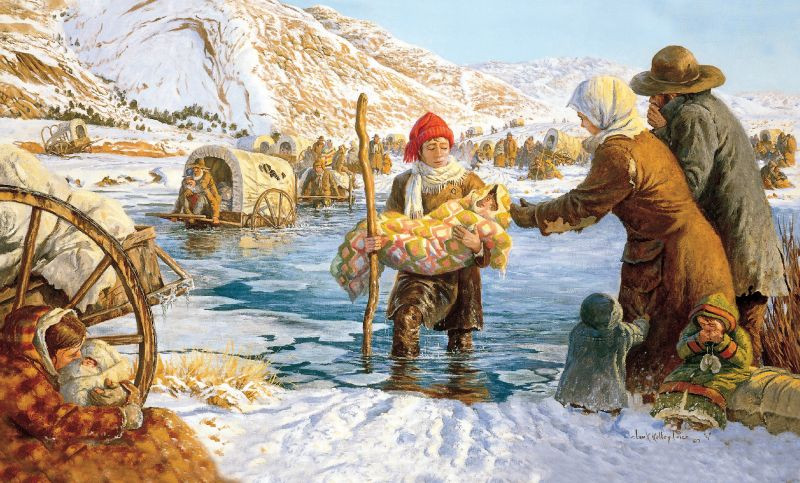 A young man helps carry a child bundled in a blanket across an icy river.