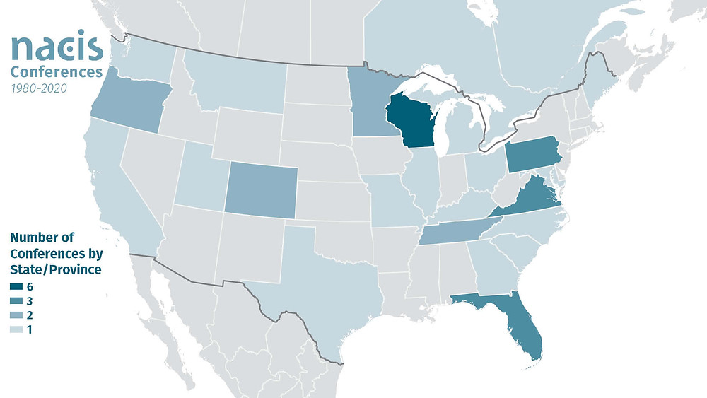 Number of NACIS conferences held by state or province.