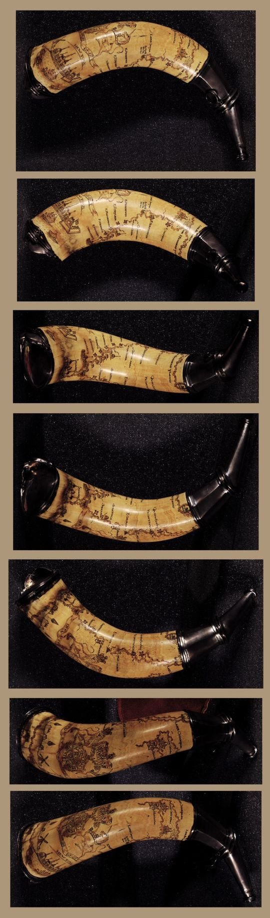 1760 - Powder horn with hand-drawn map of the Hudson River above Albany