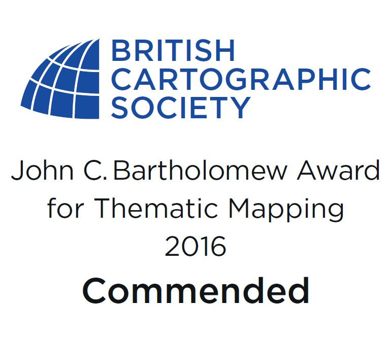 The official BCS logo for placement on winners of the commended category of the John C. Bartholomew Award for Thematic Mapping, 2016.