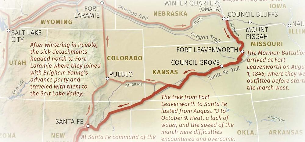 Mormon Battalion Map - Council Bluffs to Santa Fe