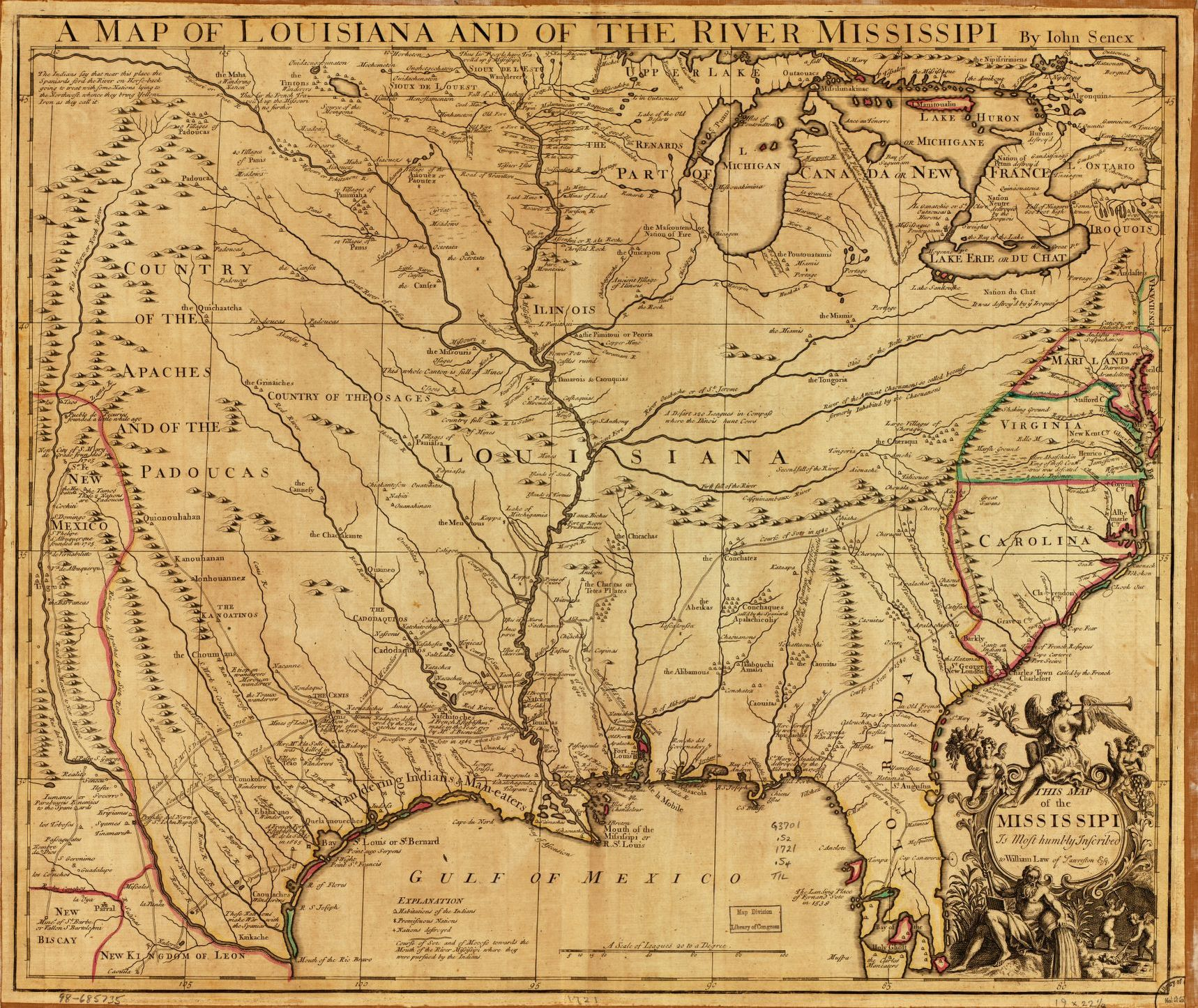 1721 - A Map of Louisiana and of the River Mississippi