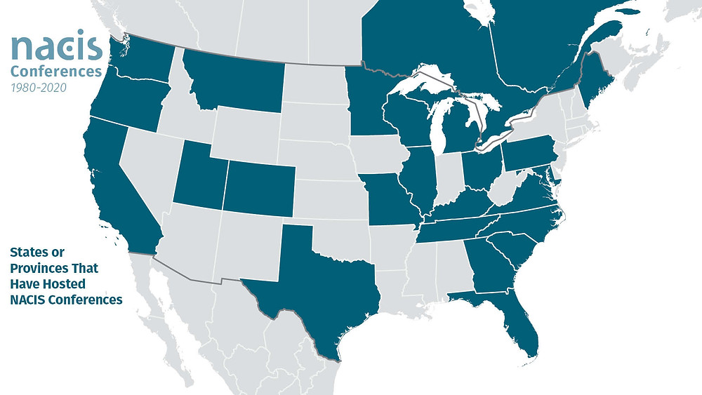 States or provinces that have hosted a NACIS conference.